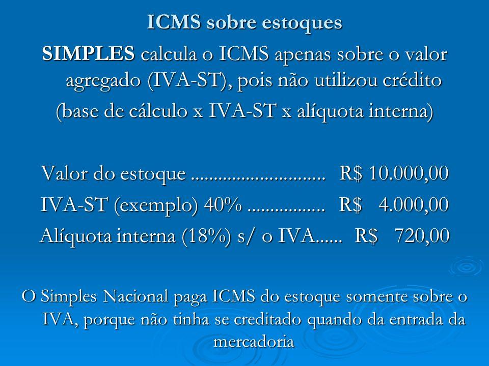 (base de cálculo x IVA-ST x alíquota interna)