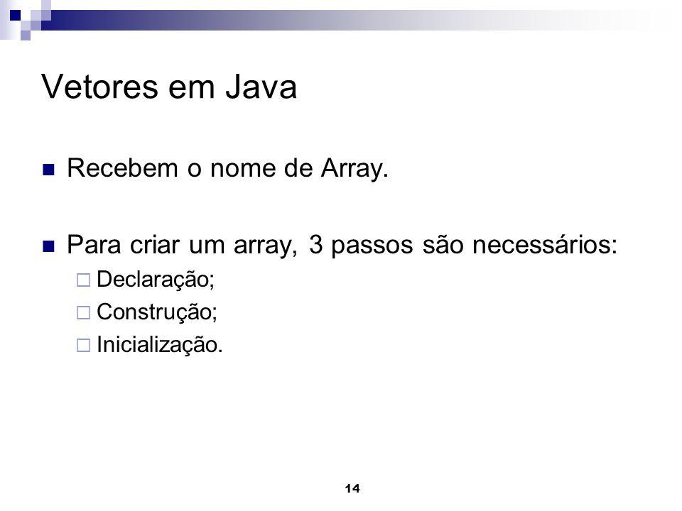 Vetores em Java Recebem o nome de Array.