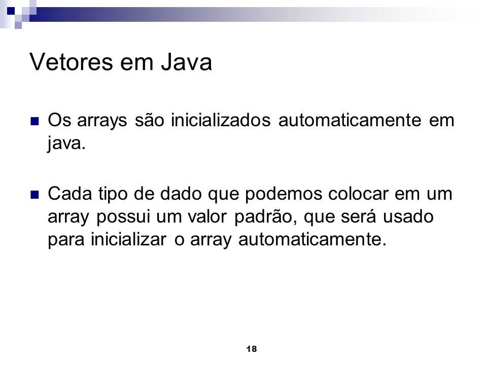 Vetores em Java Os arrays são inicializados automaticamente em java.