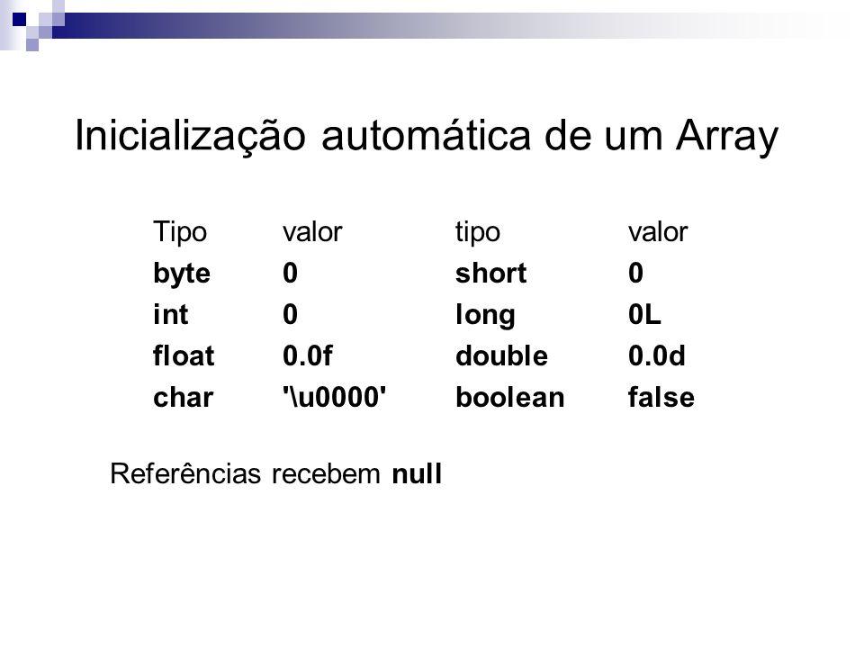 Inicialização automática de um Array