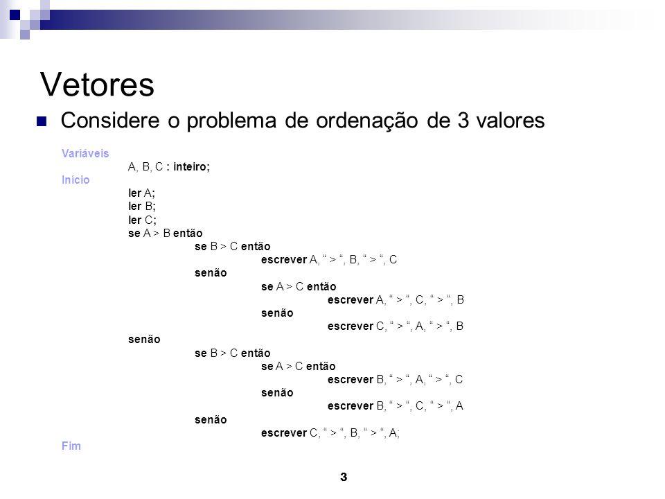Vetores Considere o problema de ordenação de 3 valores Variáveis
