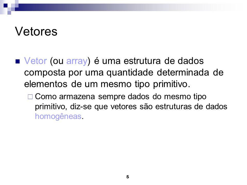 Vetores Vetor (ou array) é uma estrutura de dados composta por uma quantidade determinada de elementos de um mesmo tipo primitivo.