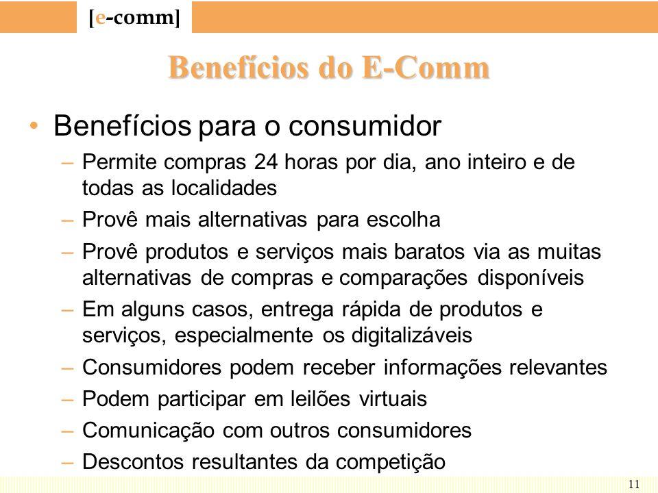 Benefícios do E-Comm Benefícios para o consumidor