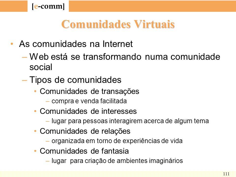 Comunidades Virtuais As comunidades na Internet