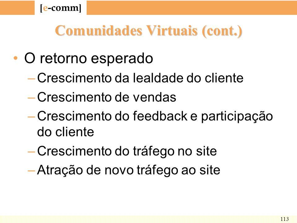 Comunidades Virtuais (cont.)