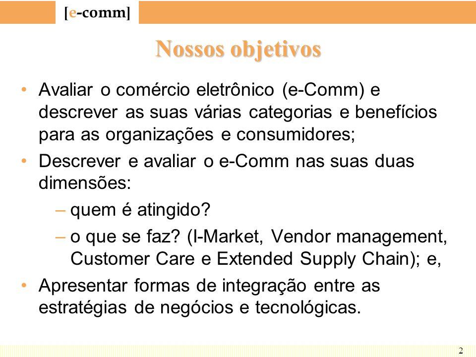 Nossos objetivos Avaliar o comércio eletrônico (e-Comm) e descrever as suas várias categorias e benefícios para as organizações e consumidores;