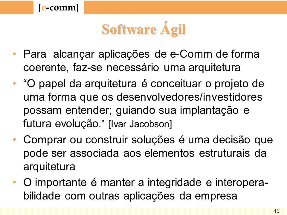 Software Ágil Para alcançar aplicações de e-Comm de forma coerente, faz-se necessário uma arquitetura.