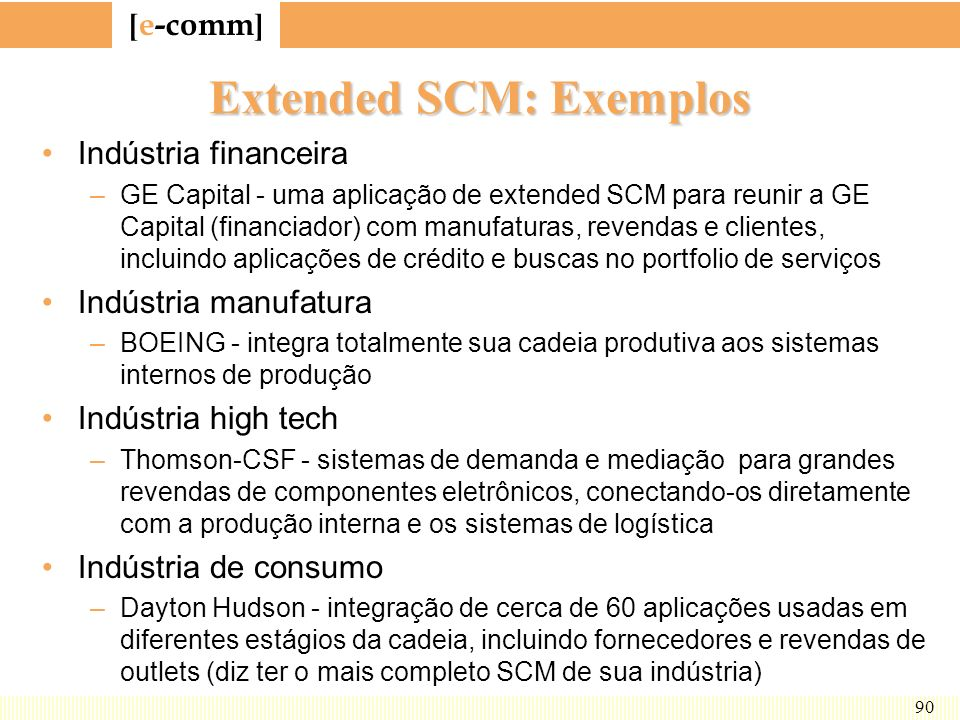 Extended SCM: Exemplos