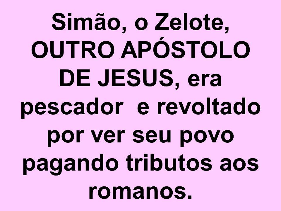 Simão, o Zelote, OUTRO APÓSTOLO DE JESUS, era pescador e revoltado por ver seu povo pagando tributos aos romanos.