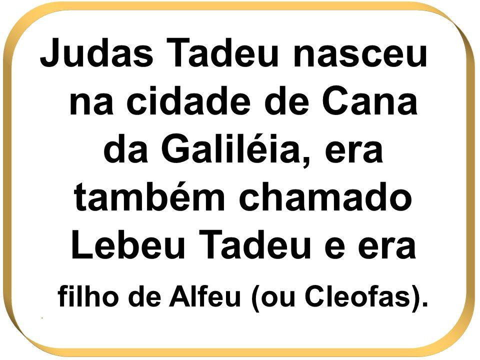 Judas Tadeu nasceu na cidade de Cana da Galiléia, era também chamado Lebeu Tadeu e era filho de Alfeu (ou Cleofas).