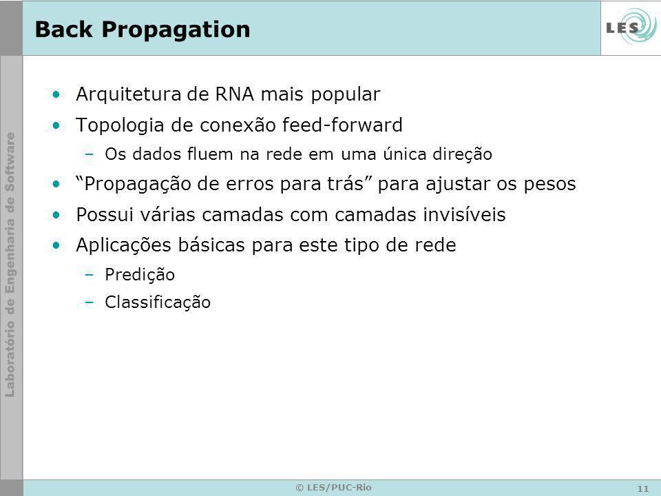 Back Propagation Arquitetura de RNA mais popular