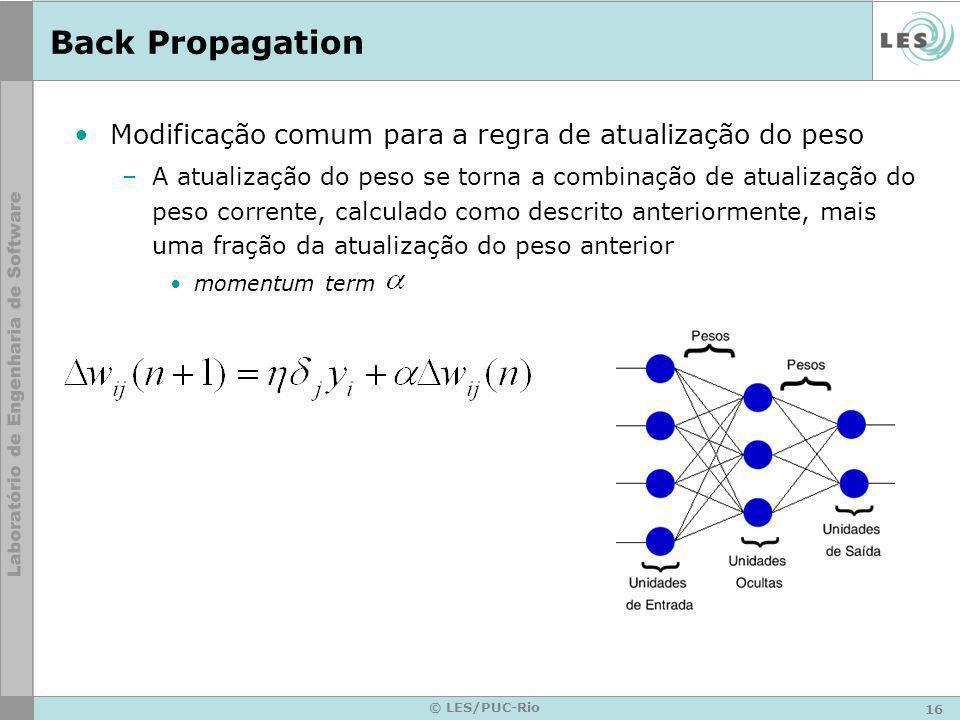 Back Propagation Modificação comum para a regra de atualização do peso