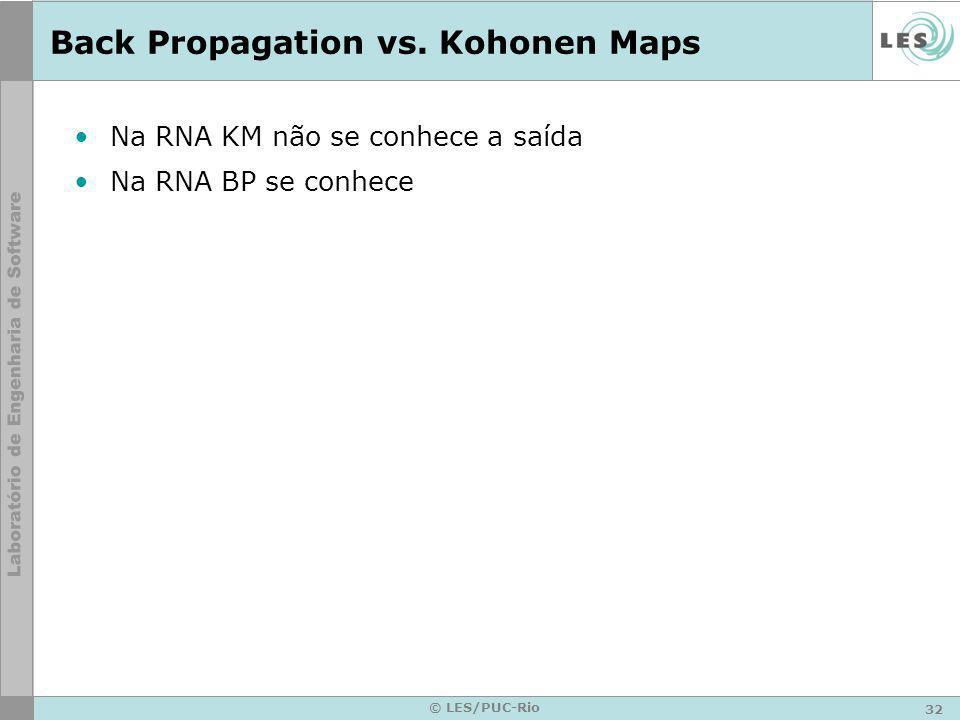 Back Propagation vs. Kohonen Maps