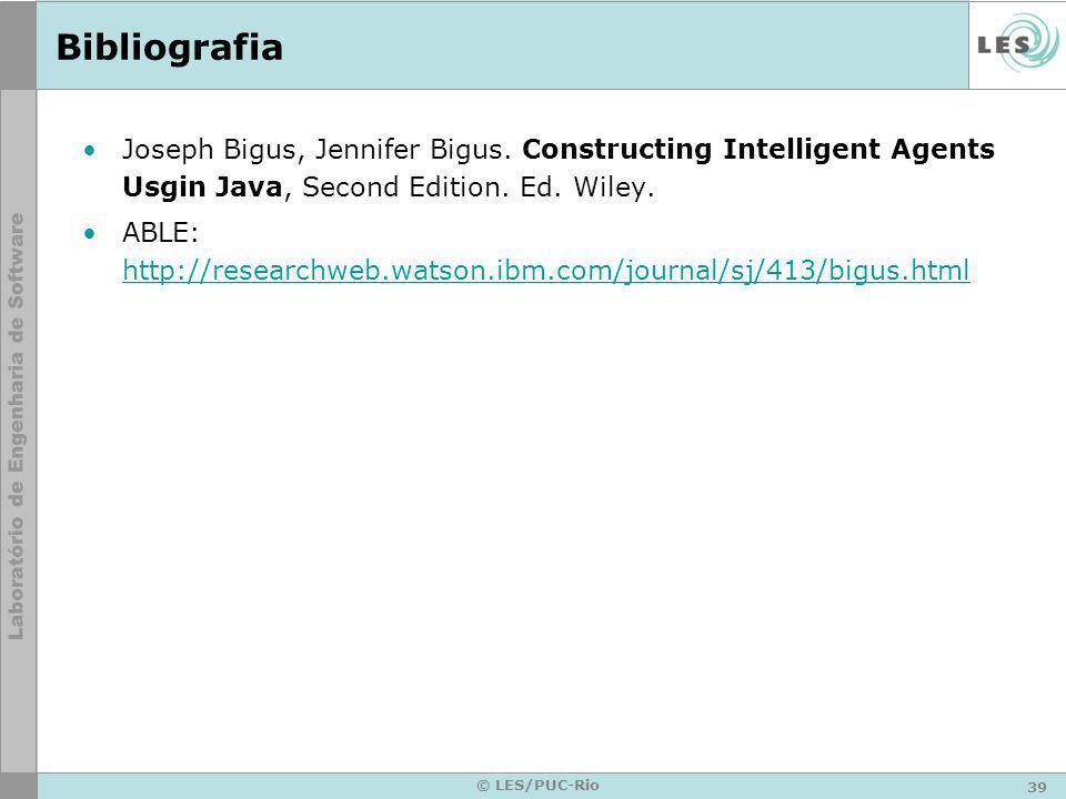 Bibliografia Joseph Bigus, Jennifer Bigus. Constructing Intelligent Agents Usgin Java, Second Edition. Ed. Wiley.