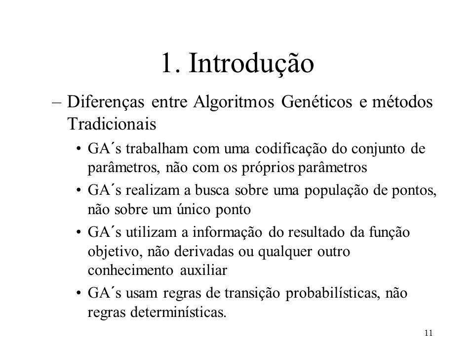 1. Introdução Diferenças entre Algoritmos Genéticos e métodos Tradicionais.