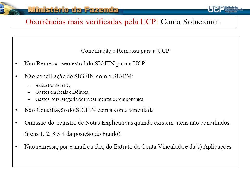 Ocorrências mais verificadas pela UCP: Como Solucionar: