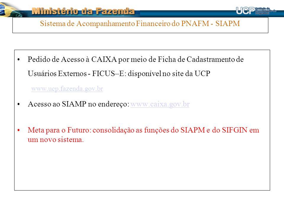 Sistema de Acompanhamento Financeiro do PNAFM - SIAPM