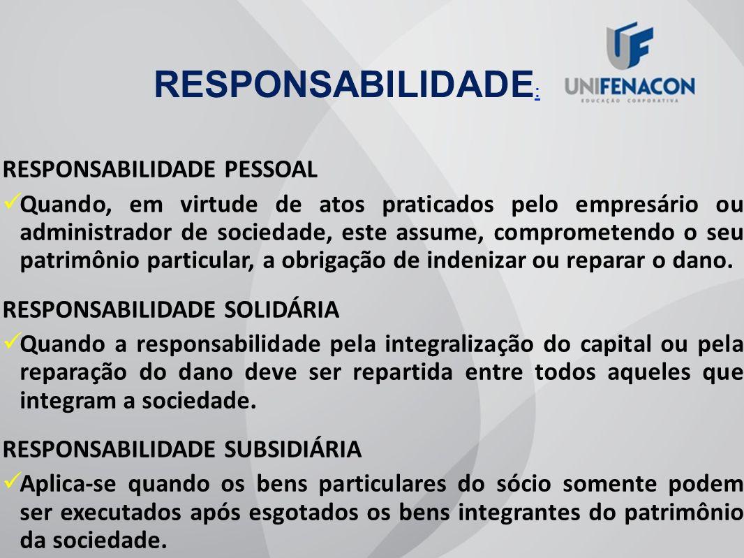 RESPONSABILIDADE: RESPONSABILIDADE PESSOAL