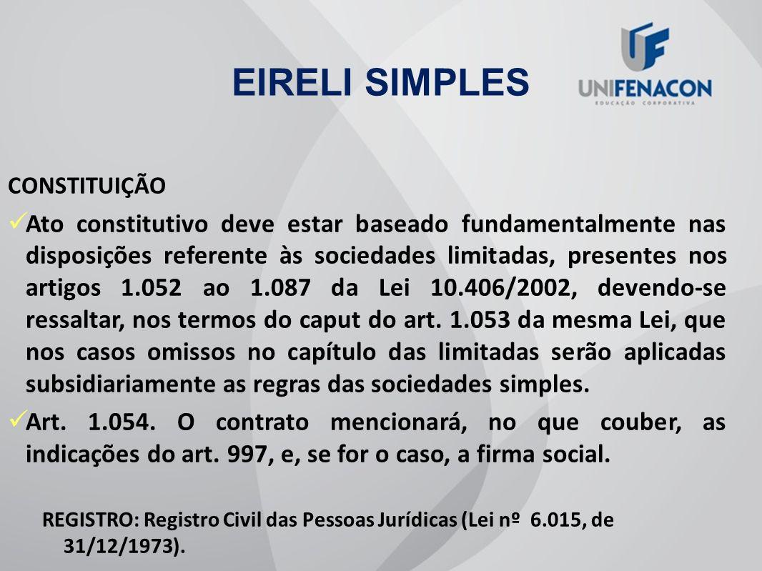 EIRELI SIMPLES CONSTITUIÇÃO.