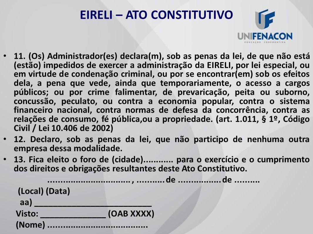 EIRELI – ATO CONSTITUTIVO