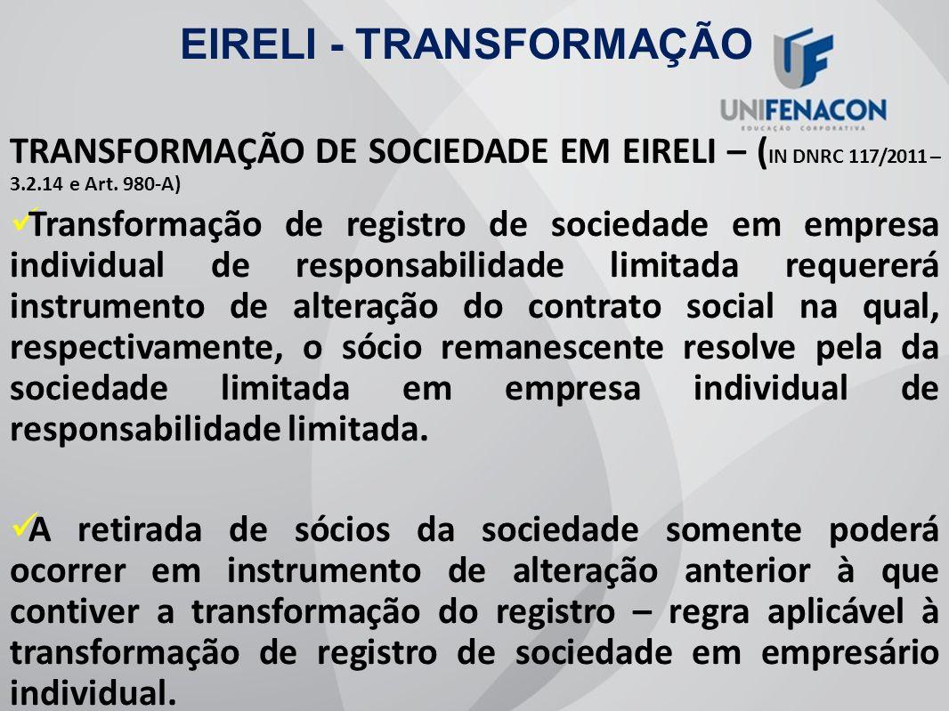 EIRELI - TRANSFORMAÇÃO