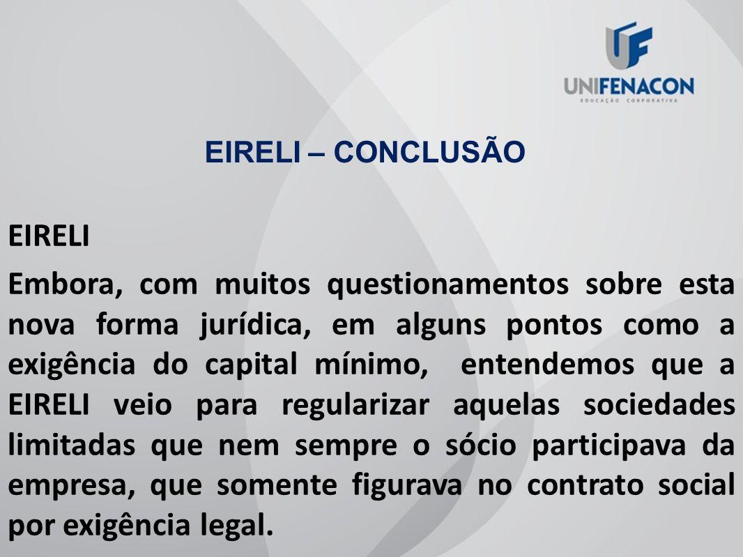 EIRELI – CONCLUSÃO EIRELI.