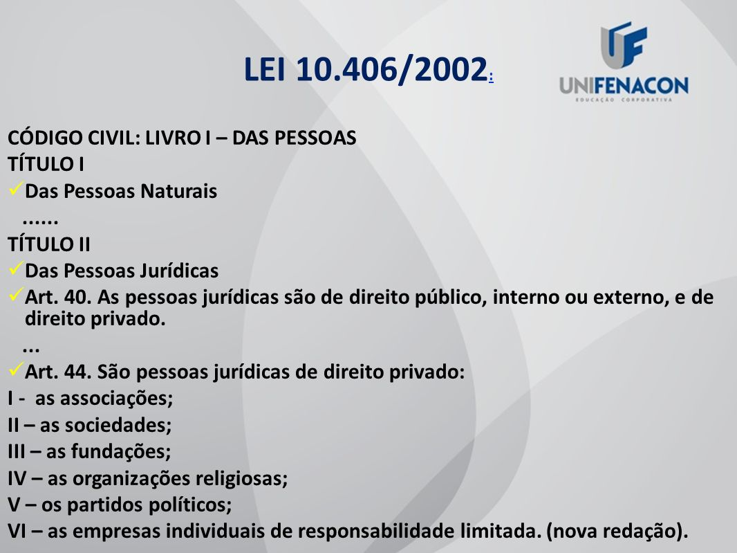 LEI 10.406/2002: CÓDIGO CIVIL: LIVRO I – DAS PESSOAS TÍTULO I