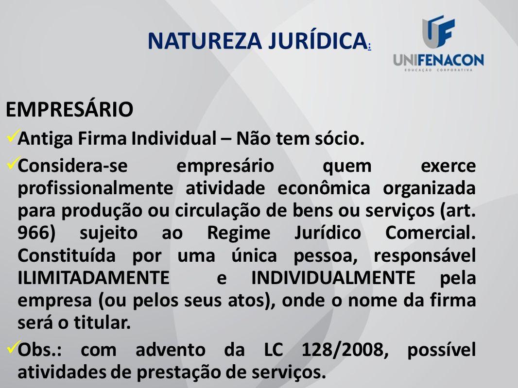 NATUREZA JURÍDICA: EMPRESÁRIO Antiga Firma Individual – Não tem sócio.
