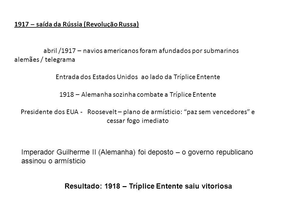 Resultado: 1918 – Tríplice Entente saiu vitoriosa