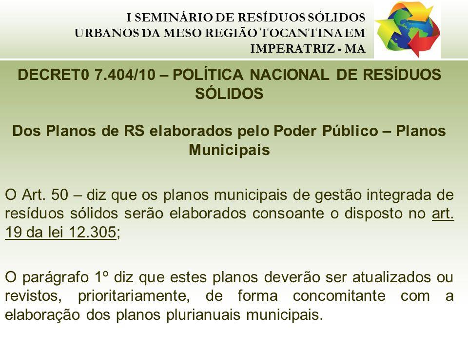 DECRET0 7.404/10 – POLÍTICA NACIONAL DE RESÍDUOS SÓLIDOS