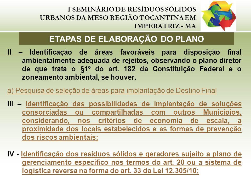 ETAPAS DE ELABORAÇÃO DO PLANO