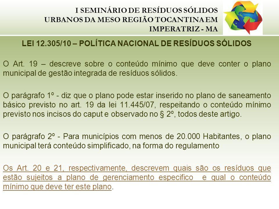 LEI 12.305/10 – POLÍTICA NACIONAL DE RESÍDUOS SÓLIDOS
