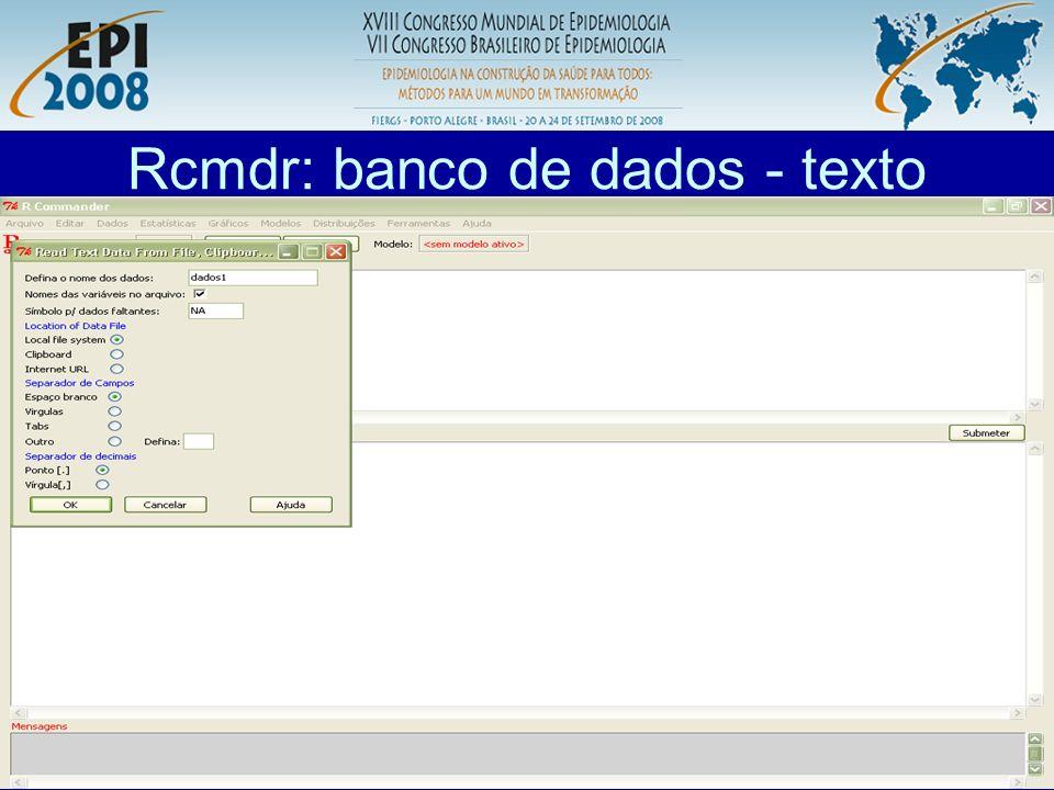 Rcmdr: banco de dados - texto