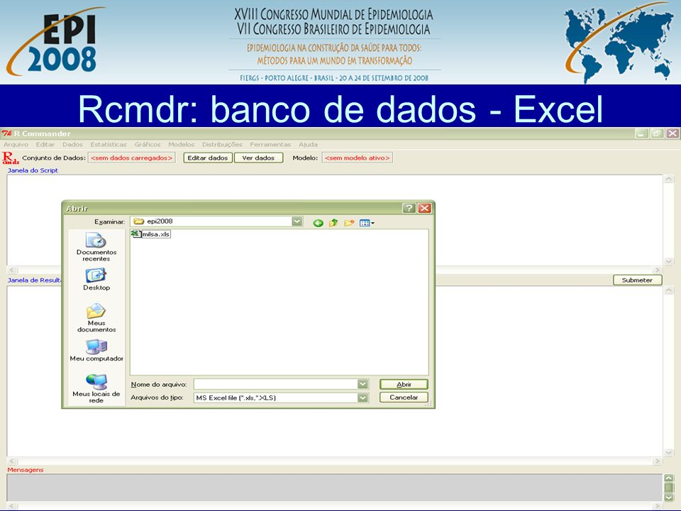 Rcmdr: banco de dados - Excel
