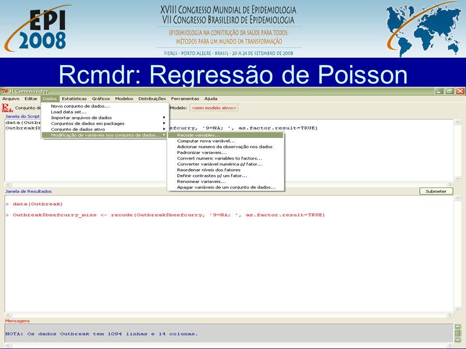 Rcmdr: Regressão de Poisson