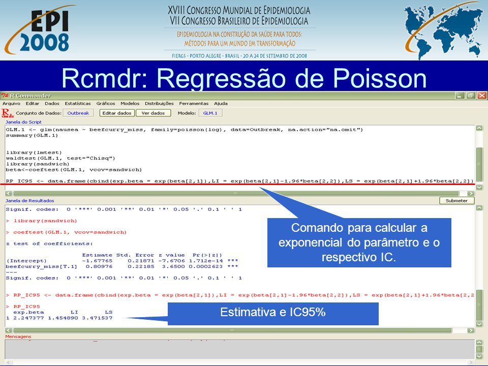 Rcmdr: Regressão de Poisson