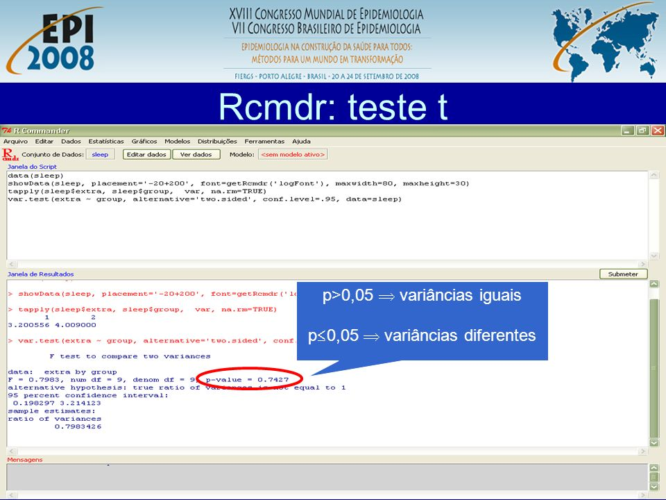 Rcmdr: teste t p>0,05  variâncias iguais