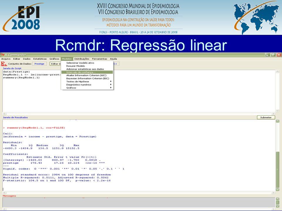 Rcmdr: Regressão linear