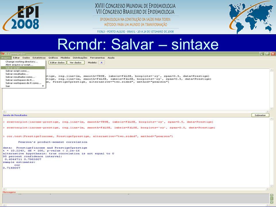 Rcmdr: Salvar – sintaxe