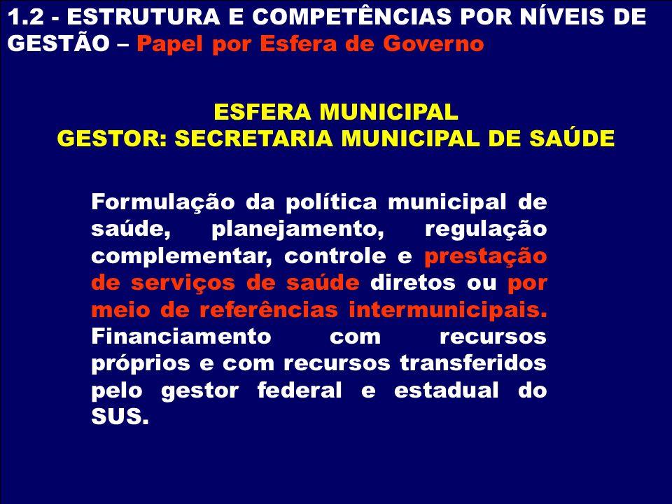 GESTOR: SECRETARIA MUNICIPAL DE SAÚDE