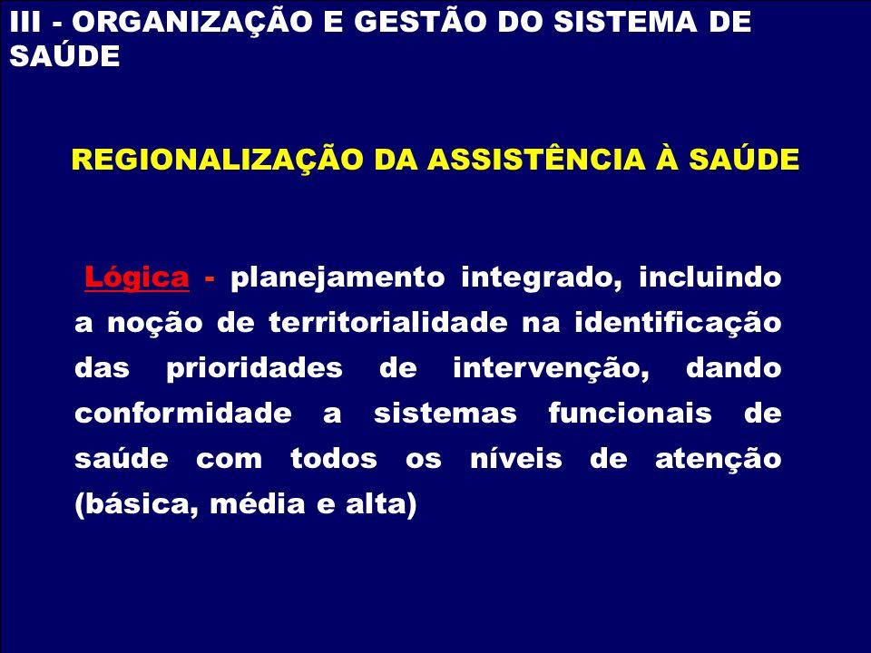 REGIONALIZAÇÃO DA ASSISTÊNCIA À SAÚDE