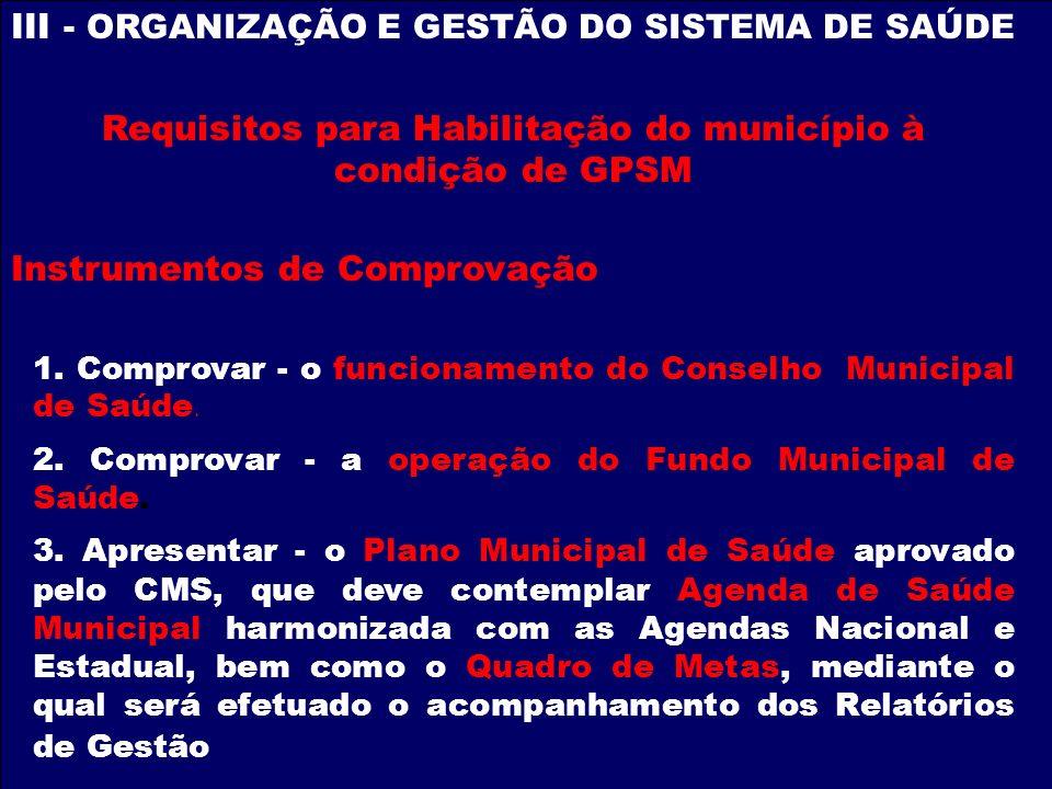 Requisitos para Habilitação do município à condição de GPSM