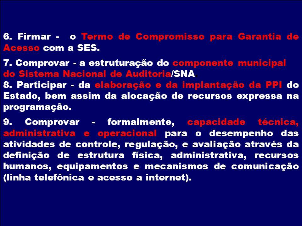 6. Firmar - o Termo de Compromisso para Garantia de Acesso com a SES.