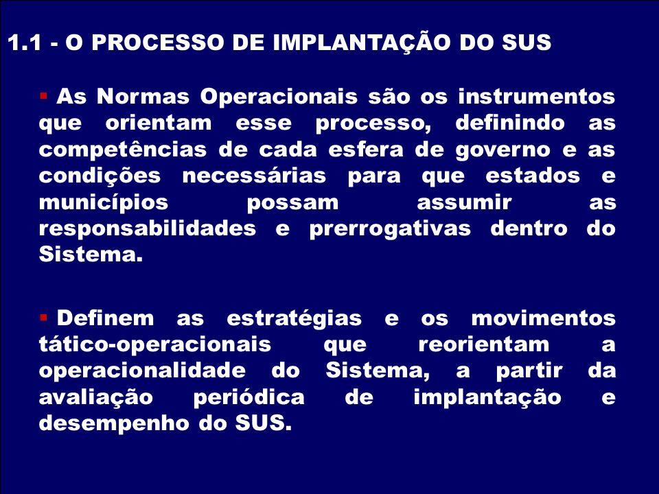 1.1 - O PROCESSO DE IMPLANTAÇÃO DO SUS