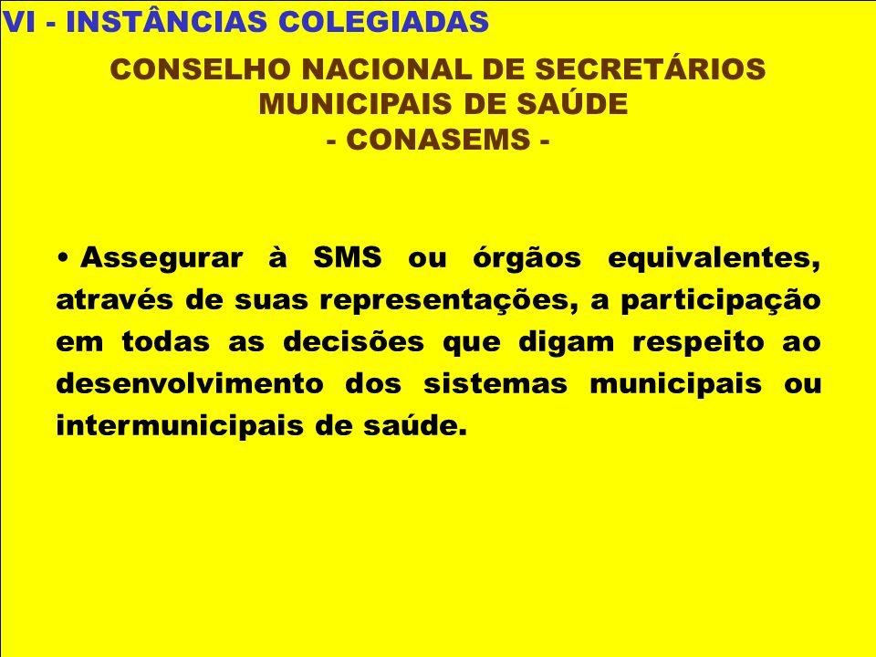 VI - INSTÂNCIAS COLEGIADAS CONSELHO NACIONAL DE SECRETÁRIOS