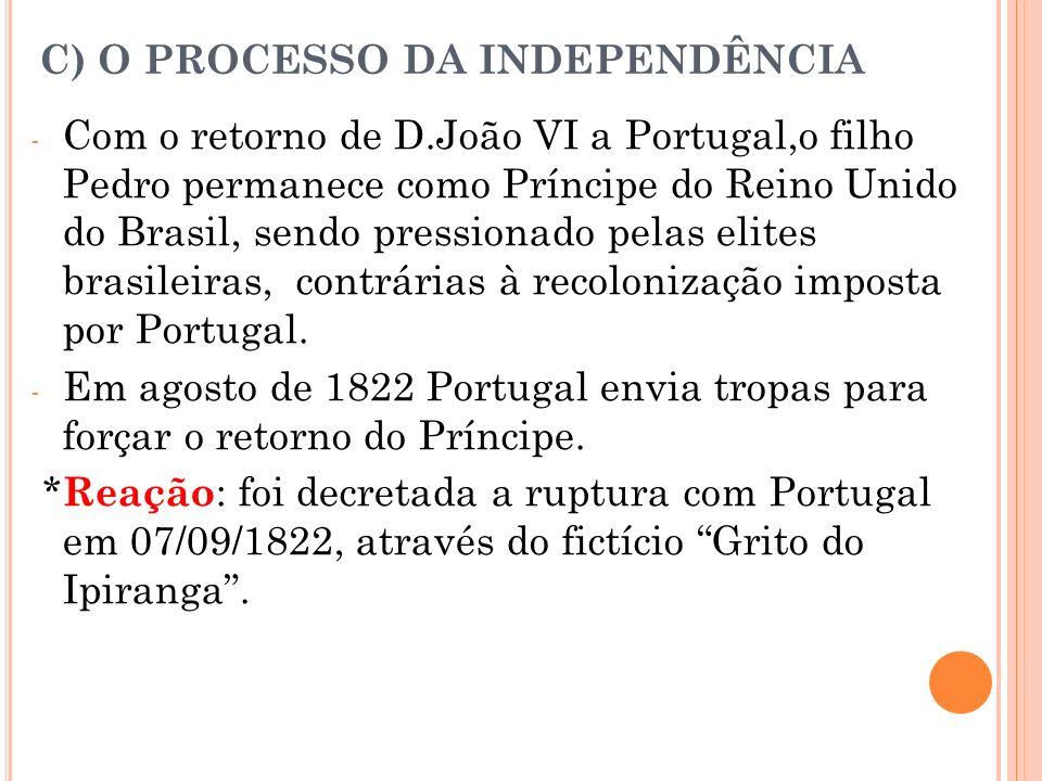 C) O PROCESSO DA INDEPENDÊNCIA