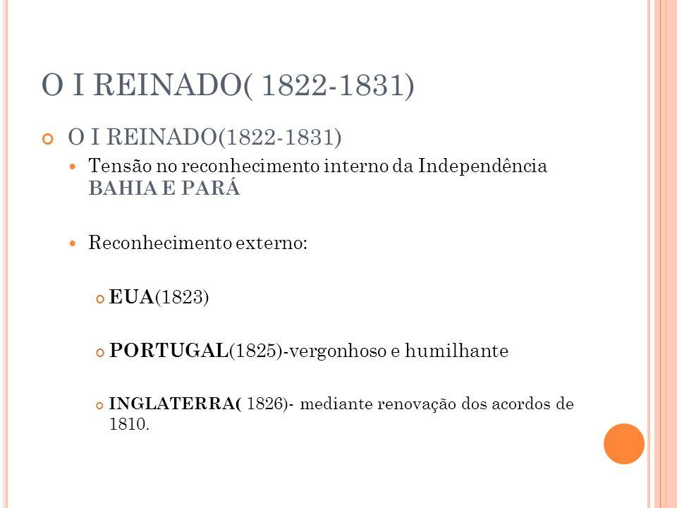O I REINADO( 1822-1831) O I REINADO(1822-1831)