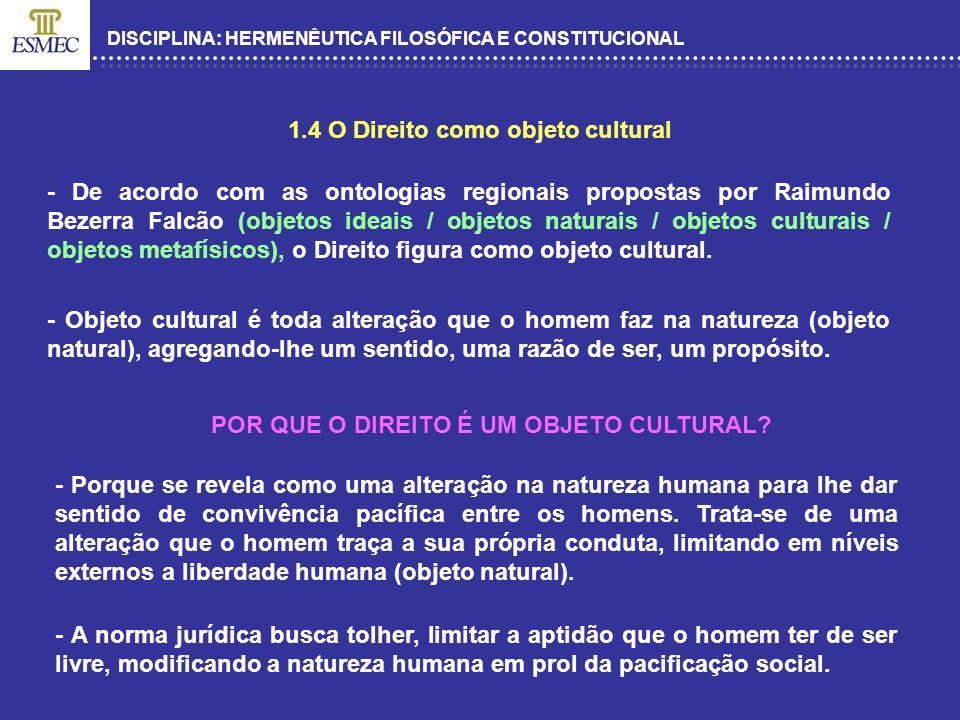 1.4 O Direito como objeto cultural