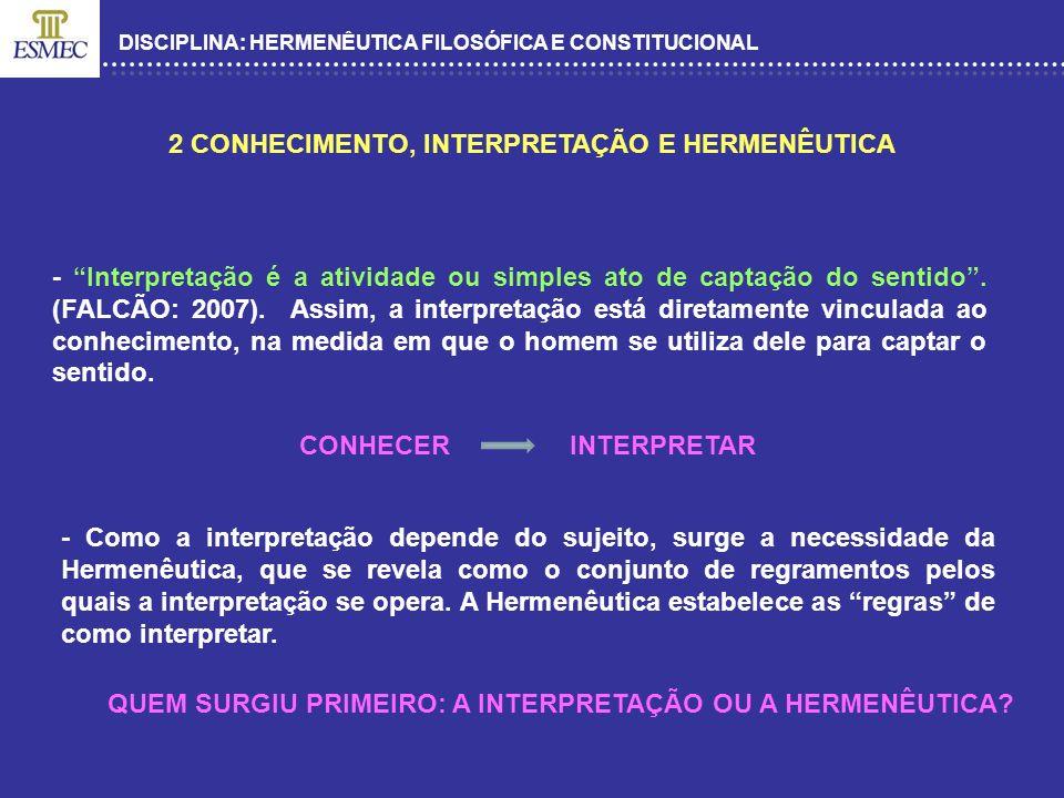 2 CONHECIMENTO, INTERPRETAÇÃO E HERMENÊUTICA