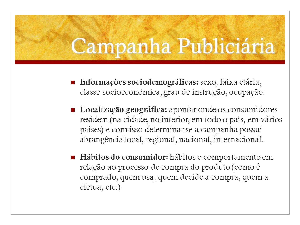 Campanha PubliciáriaInformações sociodemográficas: sexo, faixa etária, classe socioeconômica, grau de instrução, ocupação.